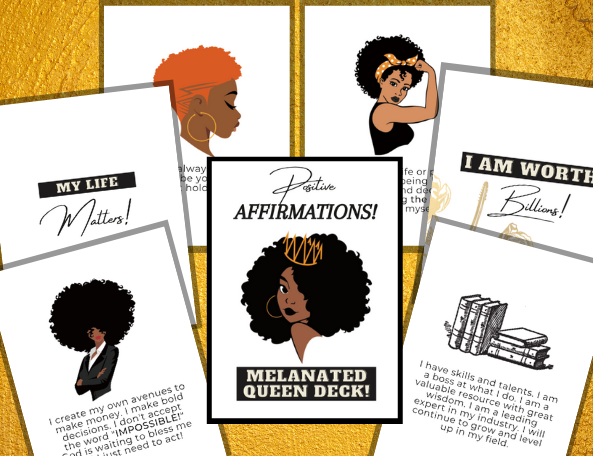 50 Positive Affirmations (Melanated Queen Deck)